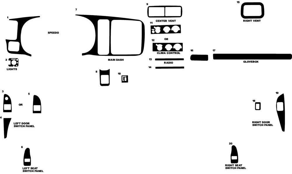 Rvinyl Rdash Dash Kit Decal Trim for Chevrolet Express 1997-2002 - Gloss (Black)