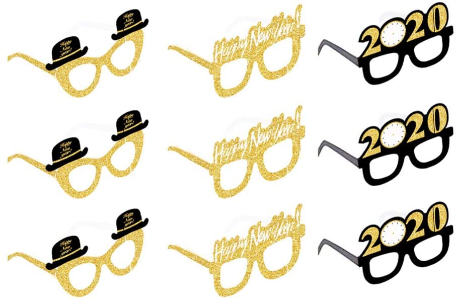 NUOBESTY 27Pcs 2020 New Year Glasses New Year Eve Party Sunglasses Novelty Party Glasses Eyewear New Year Party Photo Prop Party Supplies