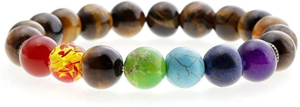 DingSheng 8mm Lava Rock 7 Chakra Beaded Bracelet Crystal Stone Essential Oil Diffuser for Men and Women Anti-Stress or Anti-Anxiety Bracelet Bangle (Tiger Eye Stone Chakra)