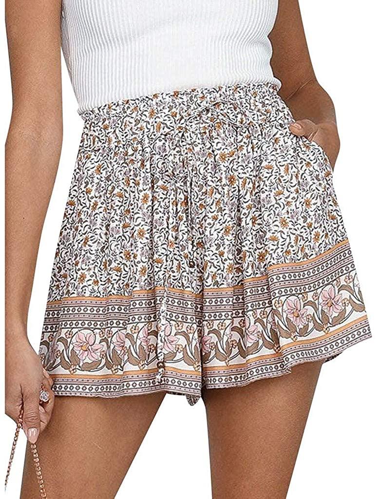 Women's Floral Shorts Comfy Drawstring Casual Elastic Waist Pockets Shorts(S-XXL)