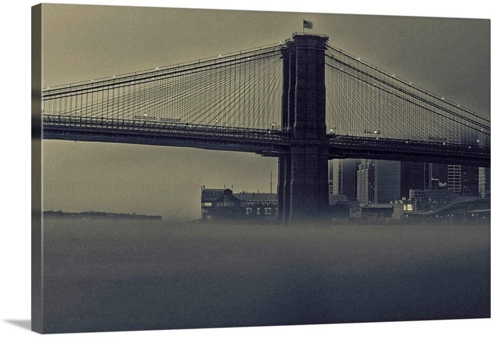 Brooklyn Bridge Foggy Morning Canvas Wall Art Print, 24x16x1.25