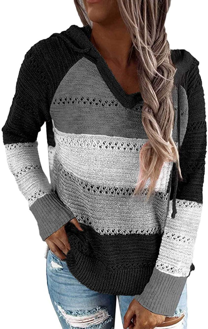 iChunhua Women's Long Sleeve Color Block Hooded Sweaters Hoodies Pullover Sweatshirts S-2XL