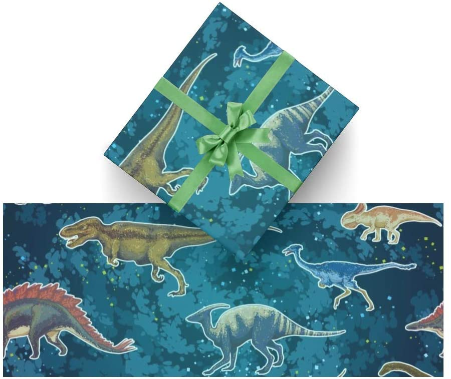 Wrapping Paper Dinosaurs Cartoon for Christmas,Birthday,Valentines Day,Bridal or Baby Showers Gift- 3Rolls - 58inch x 23inch Per Roll