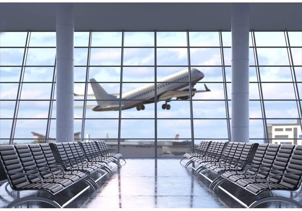YongFoto 5x3ft Airport Lounge Backdrop Airplane Departure Photography Background French Windows Blue Sky Holiday Party Banner Interior Decor Kids Adult Portrait Photo Shoot Studio Props Wallpaper