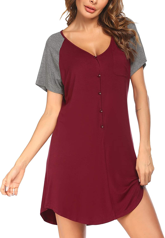 Coshow Womens Button Down Nightshirts V Neck Boyfriend Sleepwear Short Sleeve Nightgowns Soft Sleep Shirts Dress S-XXL