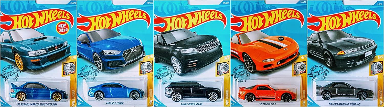 Hot Wheels 2020 Complete HW Turbo 5 Car Bundle Set Includes Subaru Impreza Audi RS 5 Coupe Mazda RX 7 Range Rover Velar Nissan Skyline