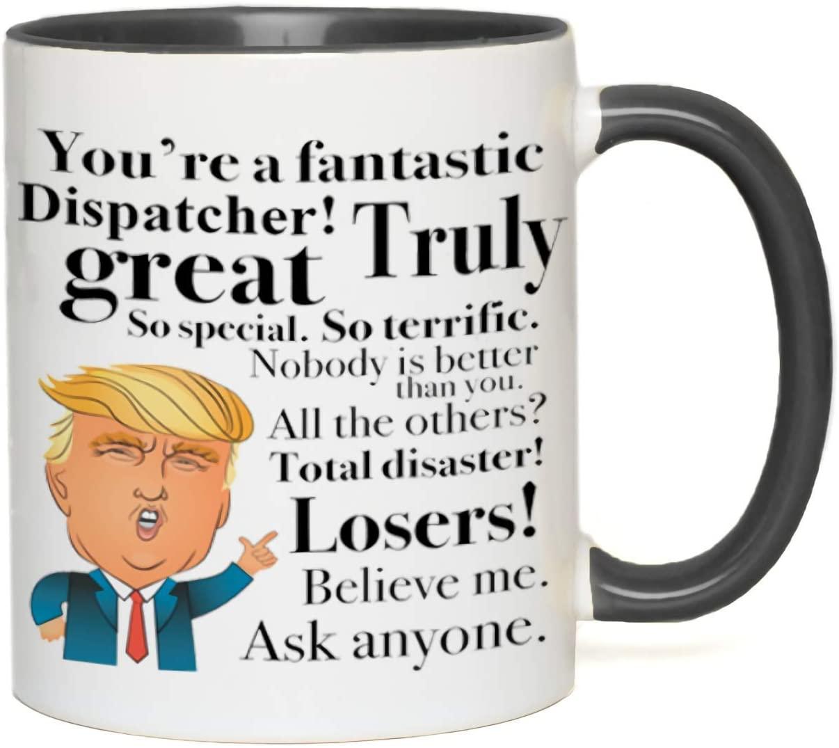 Donald Trump Coffee 2 Tone Mug - For Dispatcher Mediator Emissary Courier Mom Farmer Mather Father Day 11oz Black White
