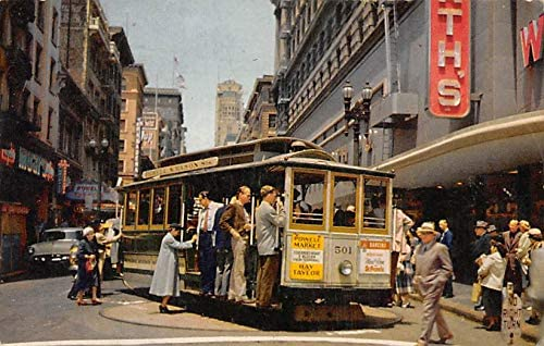 CA, California Old Vintage Antique Collectables For Sale Cable Car on Turntable postal used unknown