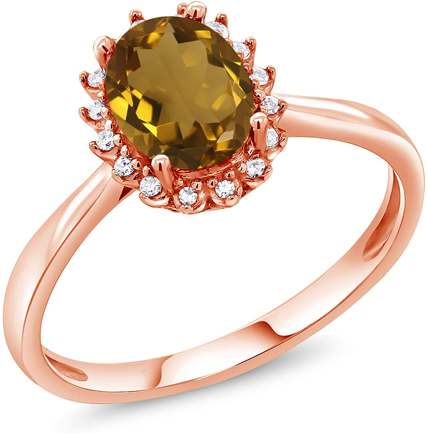 Gem Stone King 1.00 Ct Oval Whiskey Quartz 10K Rose Gold Ring with Diamond Accent (Available 5,6,7,8,9)