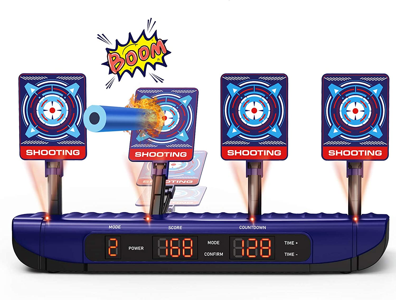 Digital Shooting Target for Foam Dart Gun, Auto Reset Nerf Shooting Toys, 4 Targets Electronic Scoring with Light and Sound Effect, Perfect for Nerf Guns Blaster - Great Gift for Boys and Girls Age 6+