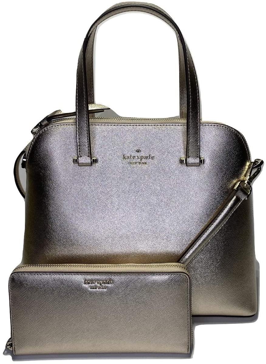 Kate Spade New York Maise Medium Dome Satchel WKRU5883Z bundled with matching Cameron Large Continental Wallet (Metallic Blush)