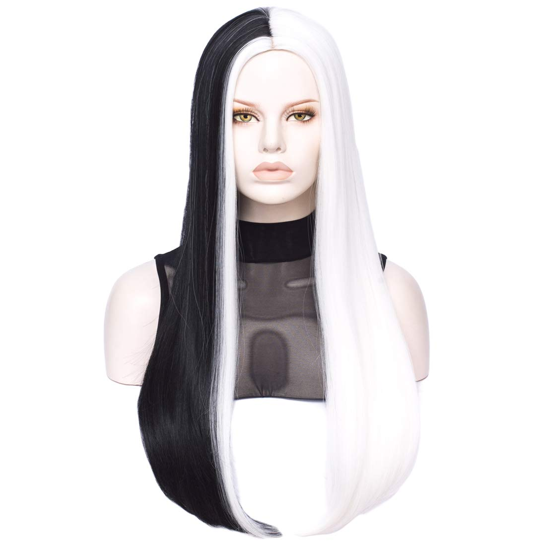 Long Straight Black and White Wig | Qaccf Women's Long Straight Middle Part Synthetic Cosplay Costume Full Wig (2 Color)