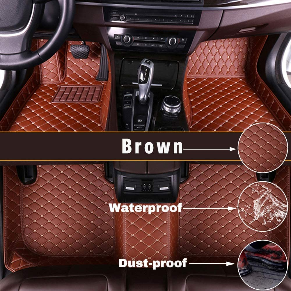 Maidao Custom Car Floor Mats for Honda Civic Ⅹ 2016-2019 Can Be Customized for 99% of Car Models Can Be Customized Pattern Or Logo Waterproof Non-Slip Leather Liner Set Brown