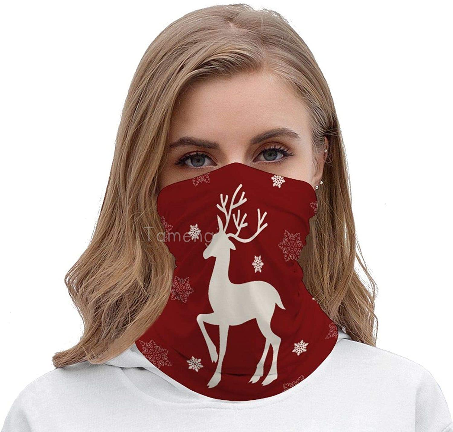 Christmas White Moose Multifunctional Face Scarf, Sun Dust Protection Seamless Bandanas Face Mask Head Wraps Breathable Face Cover