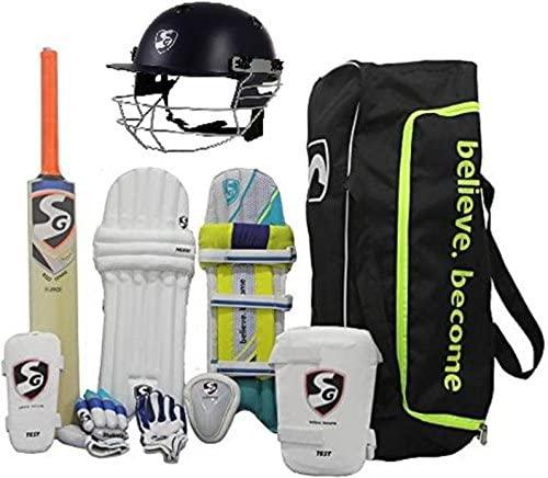 SG Multicolor Economy Cricket Kit Full Set for Adults with Helmet (Gloves,Kitbag,Helmet,Legguard,Bat,Abdominal Pad)