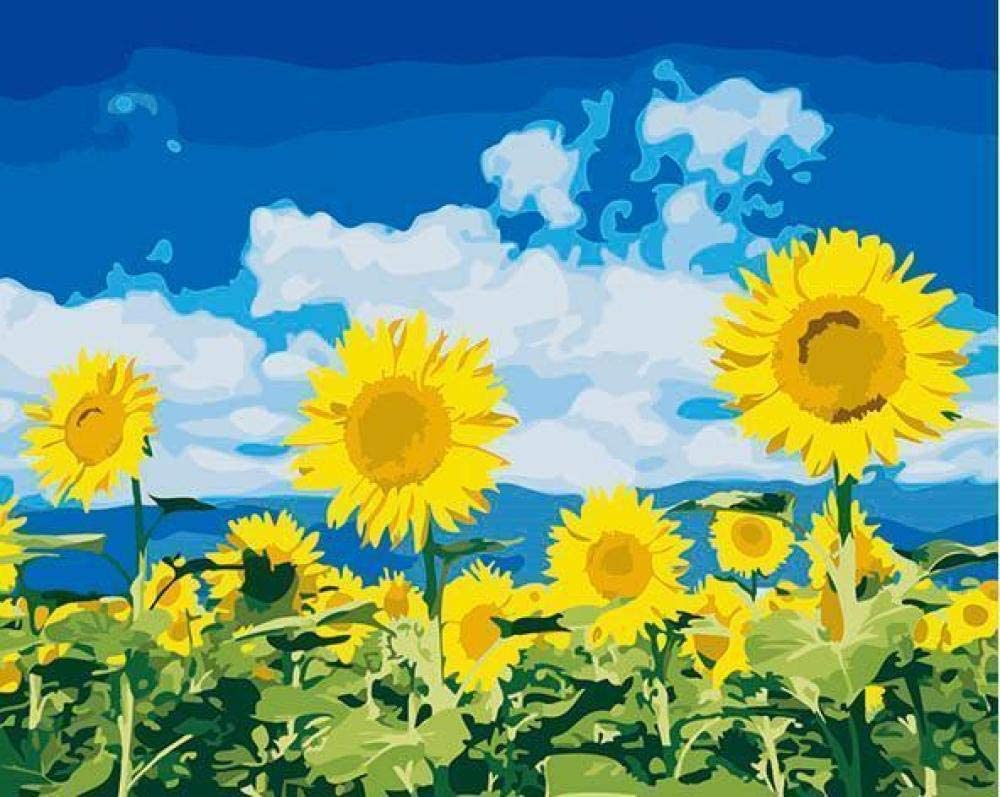 DIY Oil Painting by Digital Painting kit Suitable for Adults and Children Beginners-Sunflower 40x50cm (Frameless)