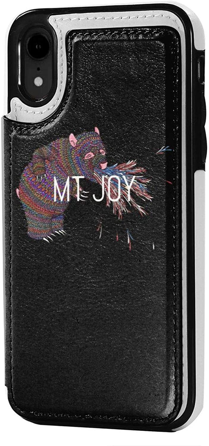 Lhdesign Mt. Joy iPhone Xr Case Wallet Credit Card Premium Leather Case with Card Slot Supports Wireless Charging Anti Fall Protective Cover Fashion Black