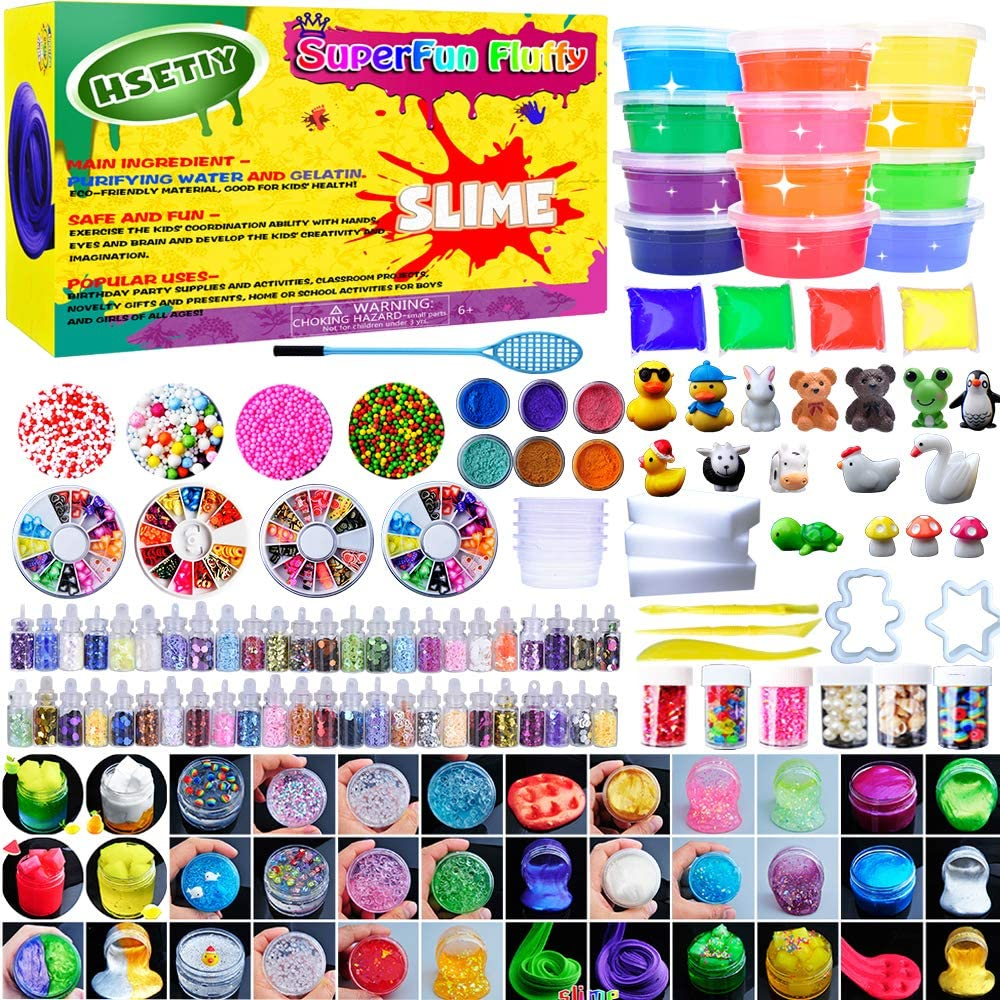 HSETIY Super Slime Kit Supplies-12 Crystal Clear Slimes 54 Pack Glitter Sheet Jars, 3 Jelly Cubes, 4 Pcs Fruit Slices, 16 Pcs Animals Beads, Foam Balls,5 Slime Containers DIY Art Crafts
