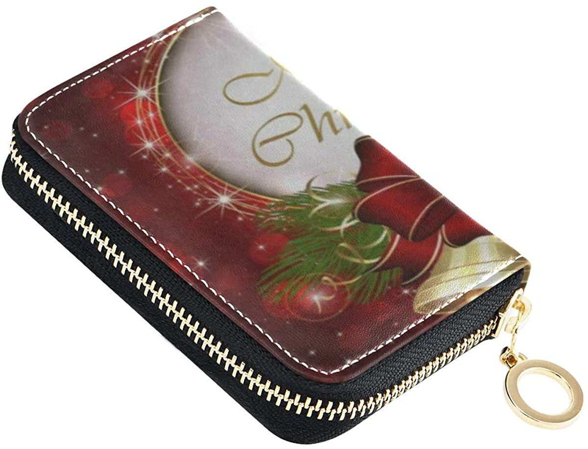 Credit Card Wallet Merry Christmas Snowflake Golden Bell Zipper Card Holder