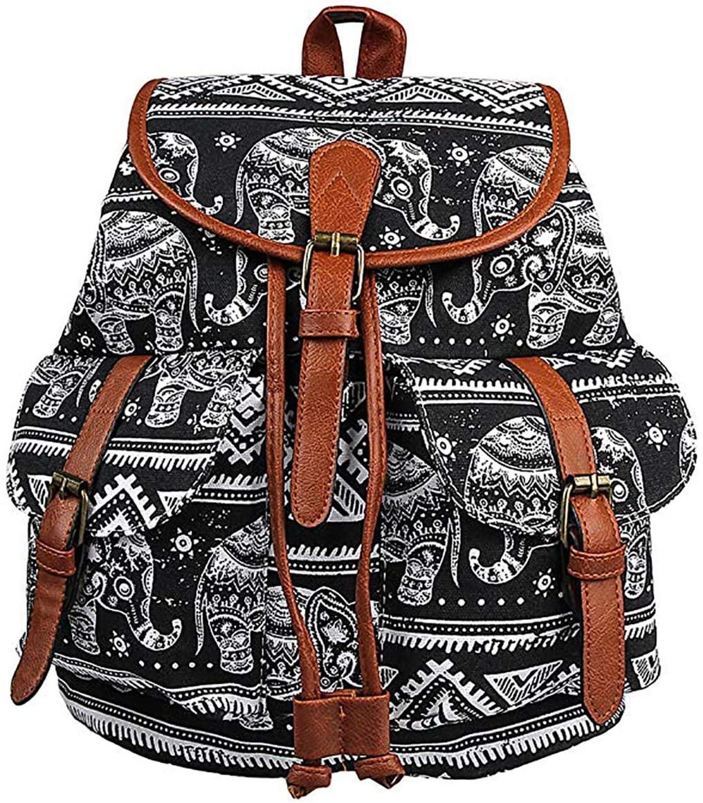 FF1 Retro Floral Printed Leisure Canvas Shoulder Backpack Travel Bag