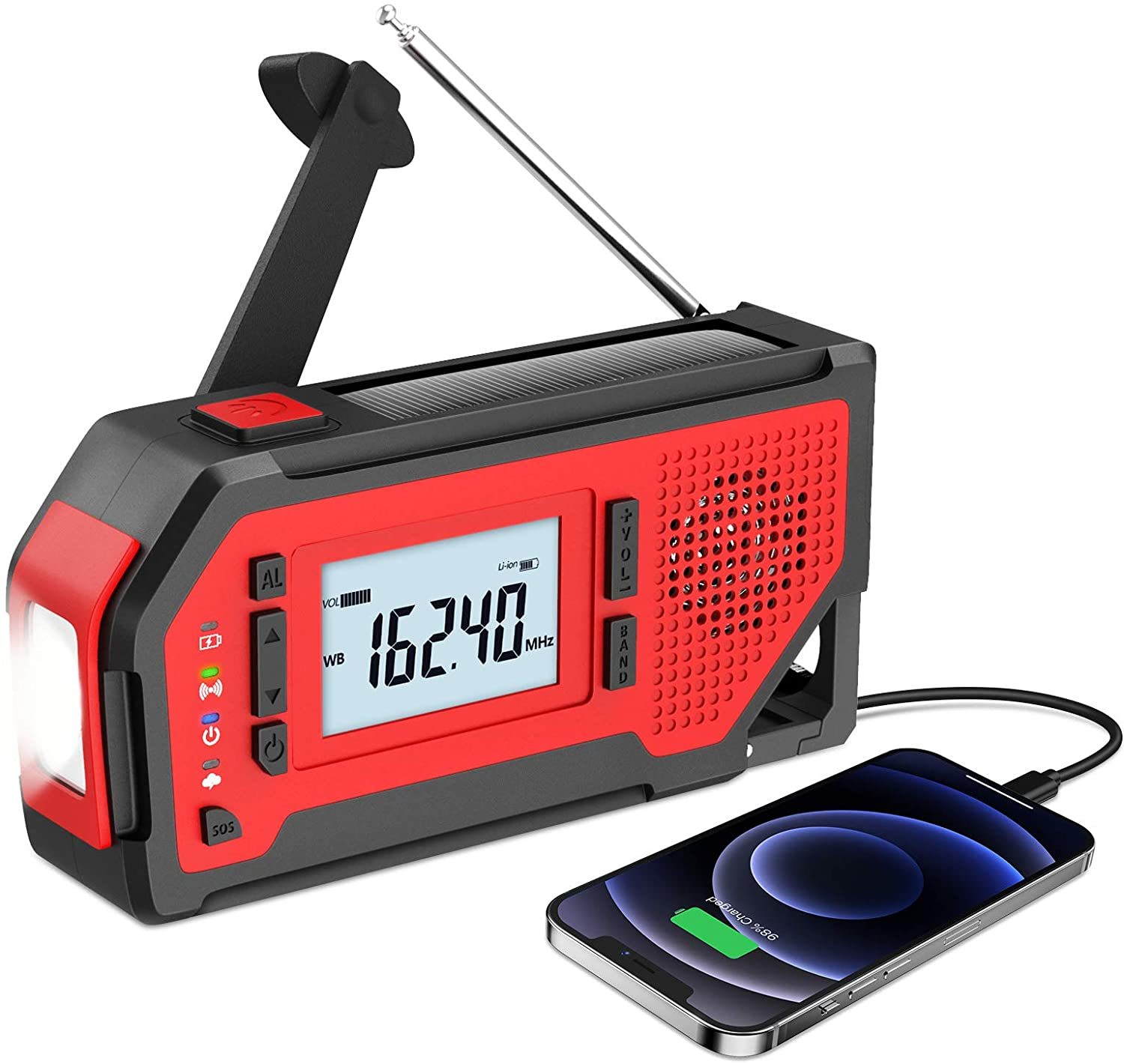 (New Version) Emergency Hand Crank Weather Radio, Self Powered Portable NOAA Radio with LED Display for Household, Outdoor, with AM/FM/WB, LED Flashlight, 2000mAh Power Bank, SOS Alarm, Bottle Opener