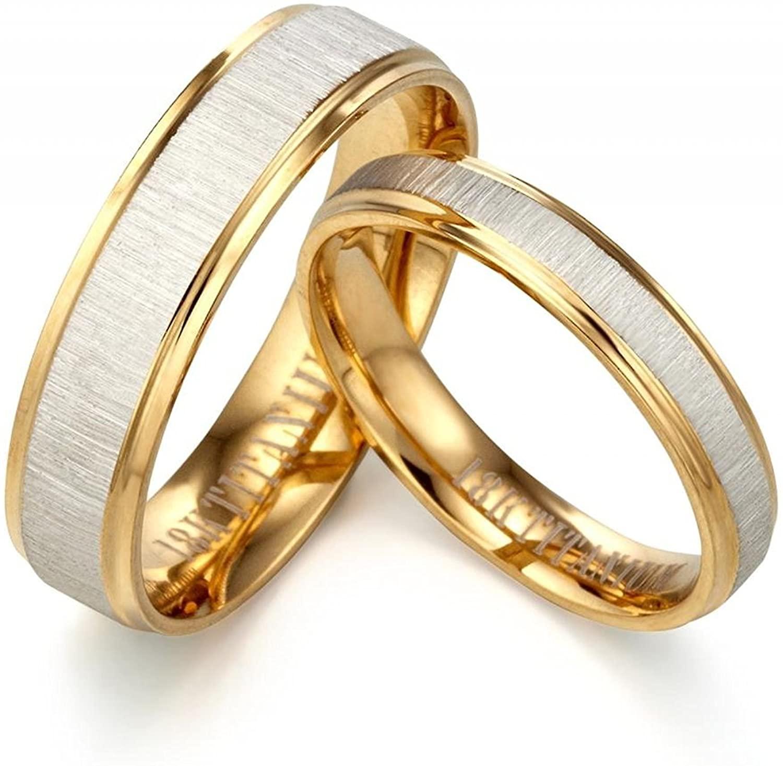 Gemini Custom Groom or Bride Yellow Gold Filled Anniversary Wedding Ring Width 6mm
