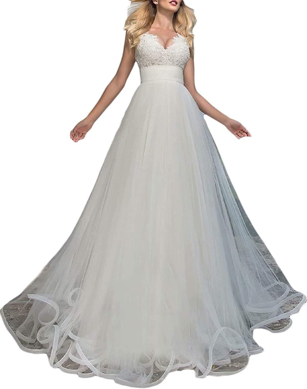 OLOEY BeautBoy Womens V Neck Lace Appliques Wedding Dresses Long Empire Waist Beach Bridal Gowns W21