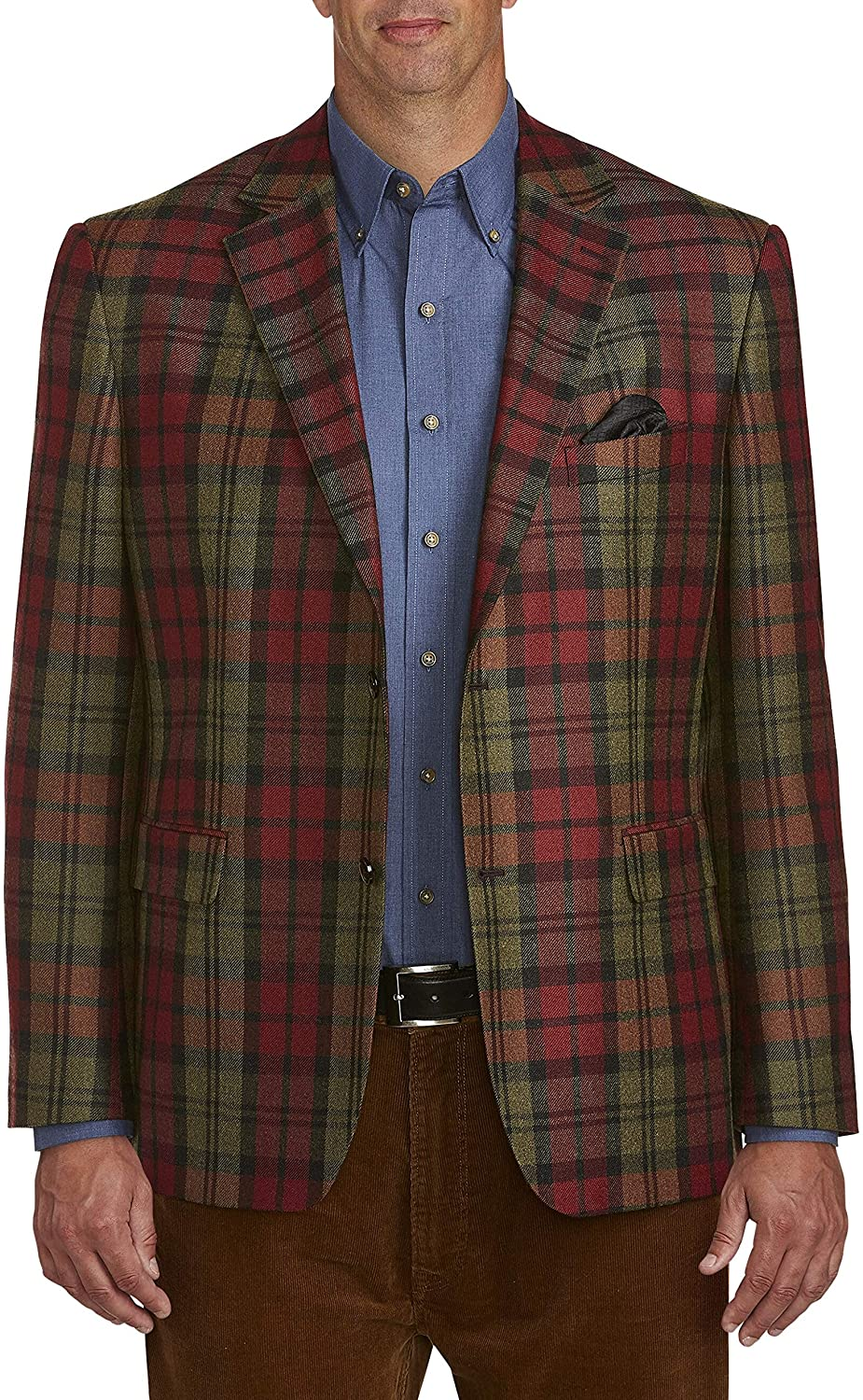Oak Hill by DXL Big and Tall Exploded Plaid Sport Coat, Green
