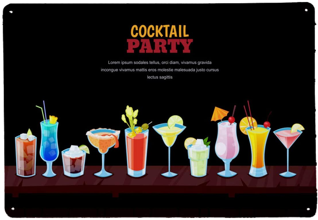 Vintage Metal Sign Bar Wall Poster Cocktails Party Concept Night Bar Background with Alcohol Cocktails On Wooden Bar Counter Vector Illustration for Cafe Bar Pub Beer Club Wall Home Decor 12x8 Inch