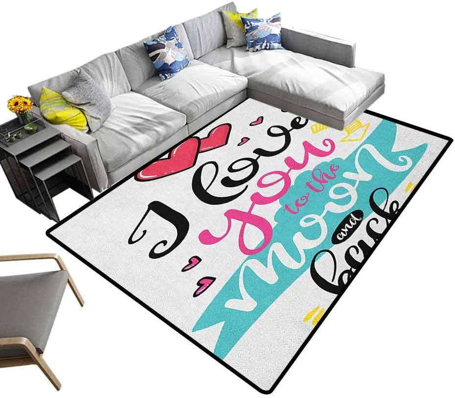 Modern Indoor Rugs I Love You, Home Bedroom Carpet Floor Mat I Love You to The Moon and Back Valentines Motivational Quote Partners Design Home Bedrooms Floor Decorative Multicolor, 7 x 7 Feet