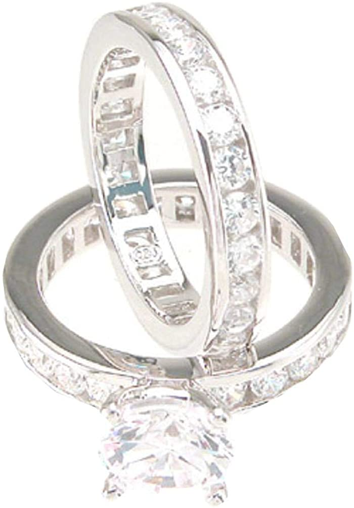 Solitiare White CZ Wedding Band Engagement Ring Set in 925 Sterling Silver