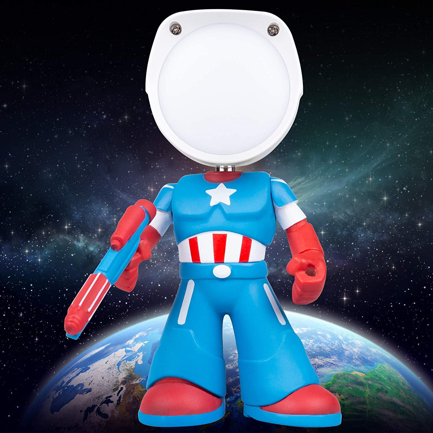 Table Light for Kids, Small Desk Lamp, Captain America Night Lamp with Touch Control, Rechargeable Nursery Cartoon Night Lights, Best Gift for Adult, Kids, Boys and Girls,Blue