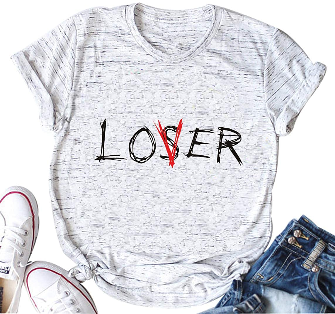 licson Lover Loser Club Shirt Women Funny Casual Inspired Short Sleeve T-Shirt Tops Tee