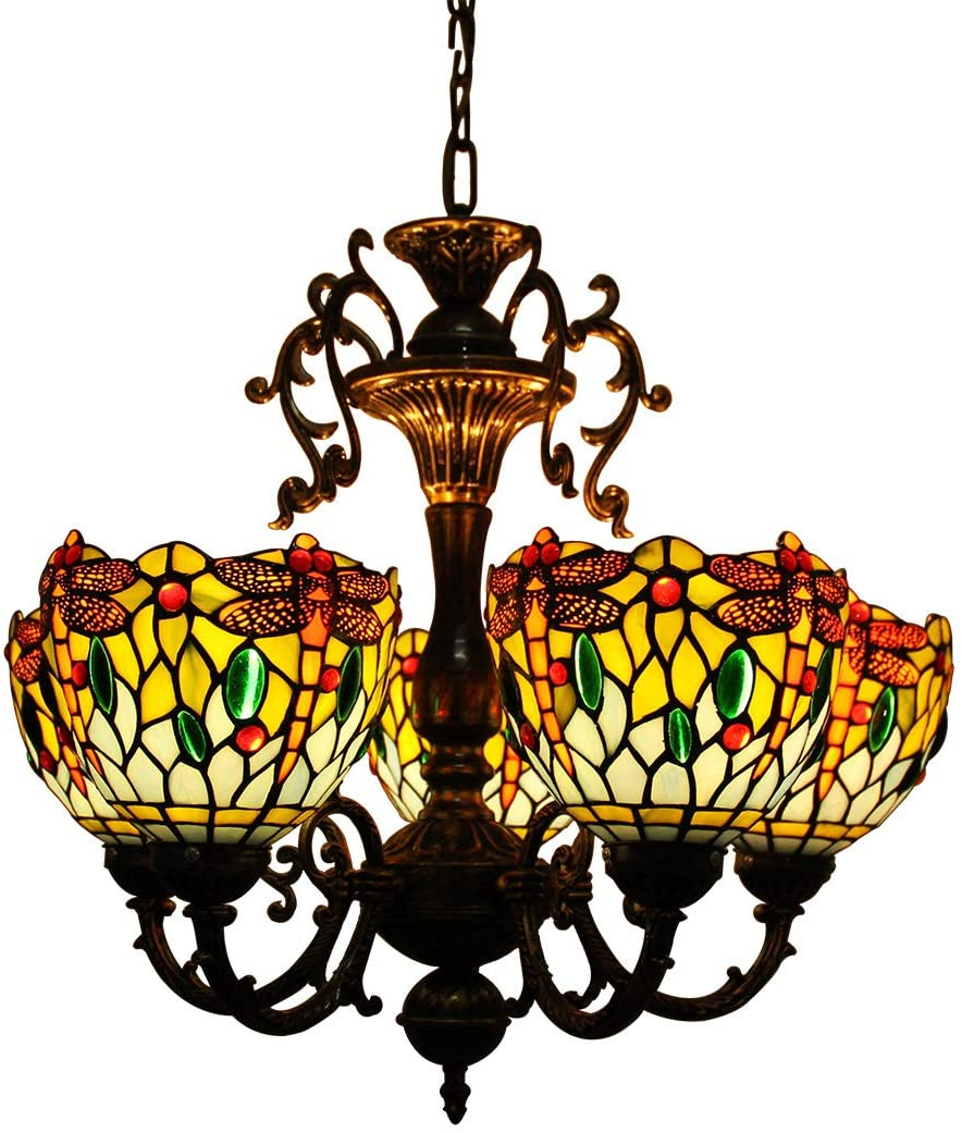 Makenier Vintage Tiffany Style Blue Stained Glass 5 Arms Dragonfly Floral Chandelier, 7 Inches Lampshade