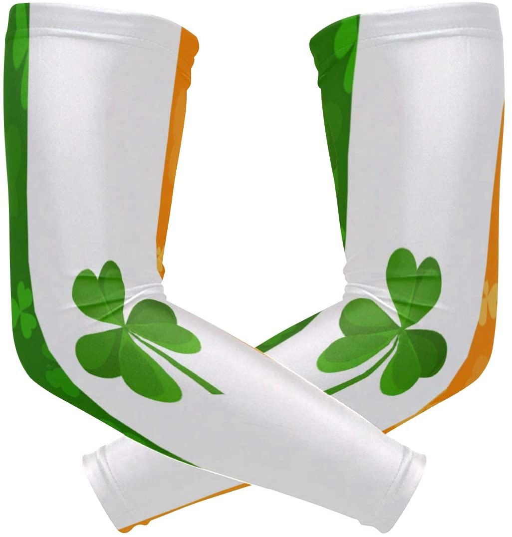 SLHFPX Arm Sleeves Irish Flag Clover Mens Sun UV Protection Sleeves Arm Warmers Cool Long Set Covers
