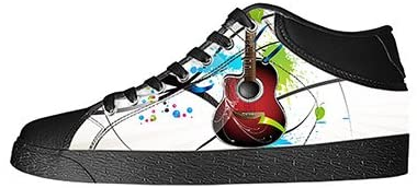 Custom Music and Guitar Mens Classic High Top Canvas Shoes Fashion Sneaker