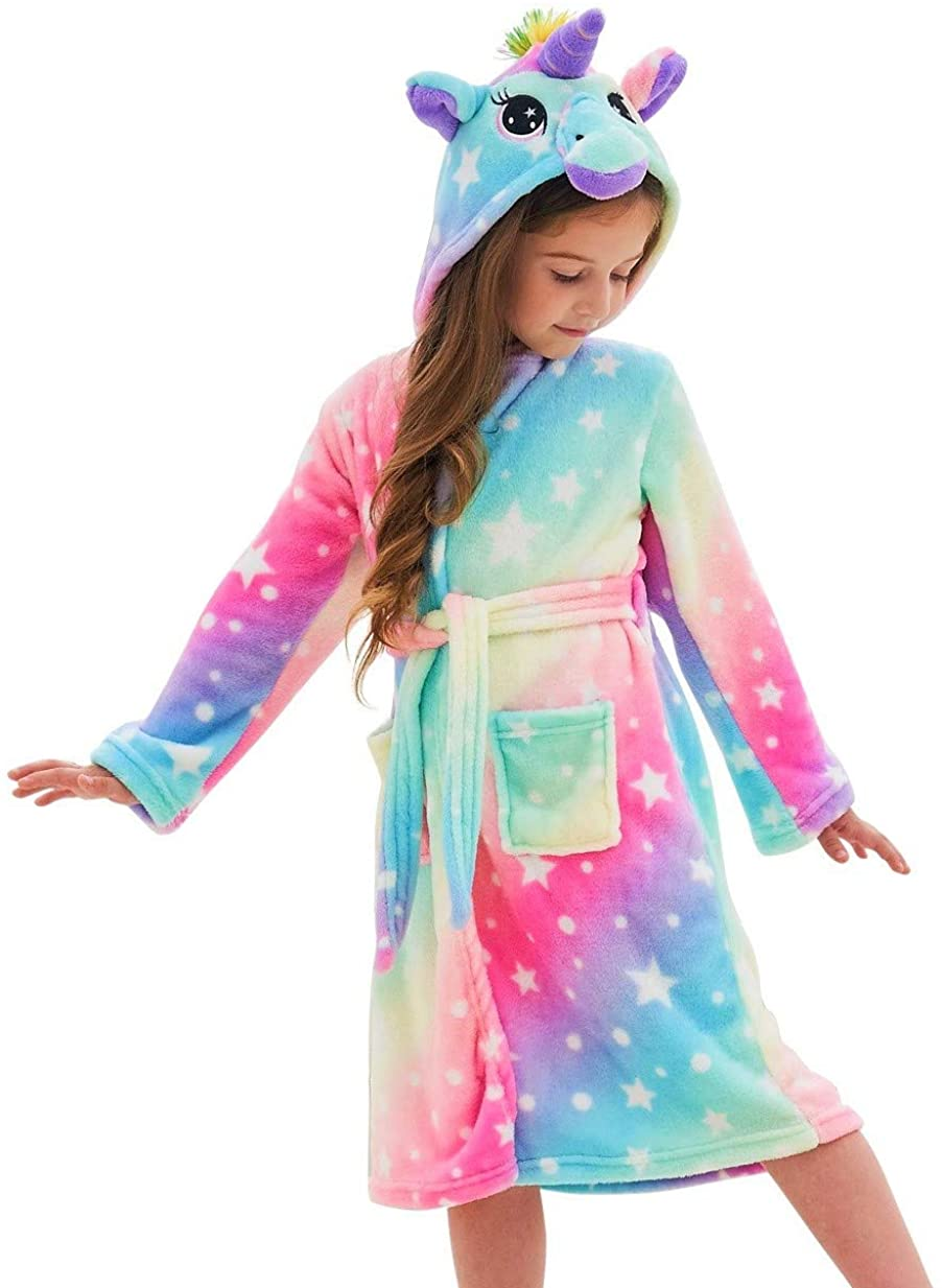 Soft Unicorn Hooded Bathrobe, Unicorn Gifts for Girls