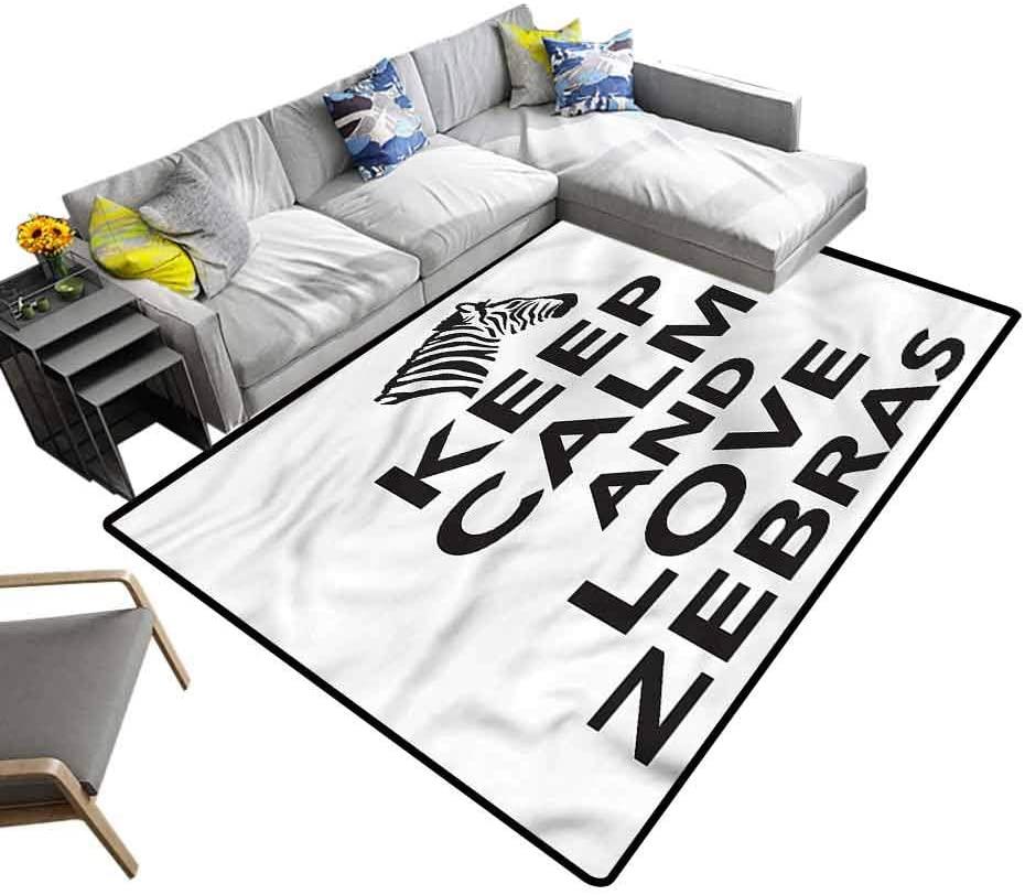 Zebra Print, Bedside Carpet Keep Calm Love Quote Soft Comfy Area Rugs for Kids Living Room Nursery Home Decor, 6'x 9'
