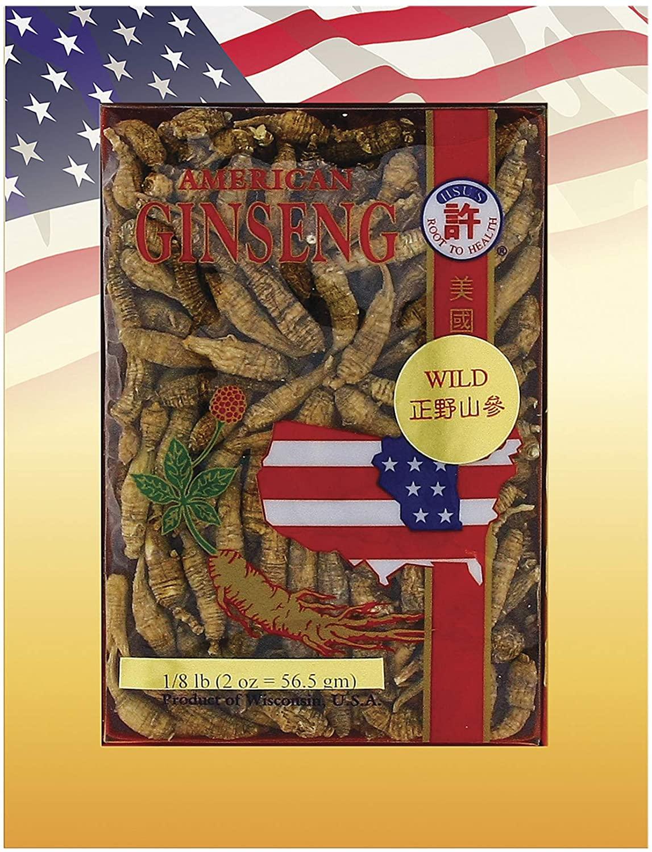 Hsu's Ginseng SKU 0316-2   Wild Short Small #3   Wild American Ginseng   许氏花旗参正野山參   2 oz Box, 西洋参, 野山參