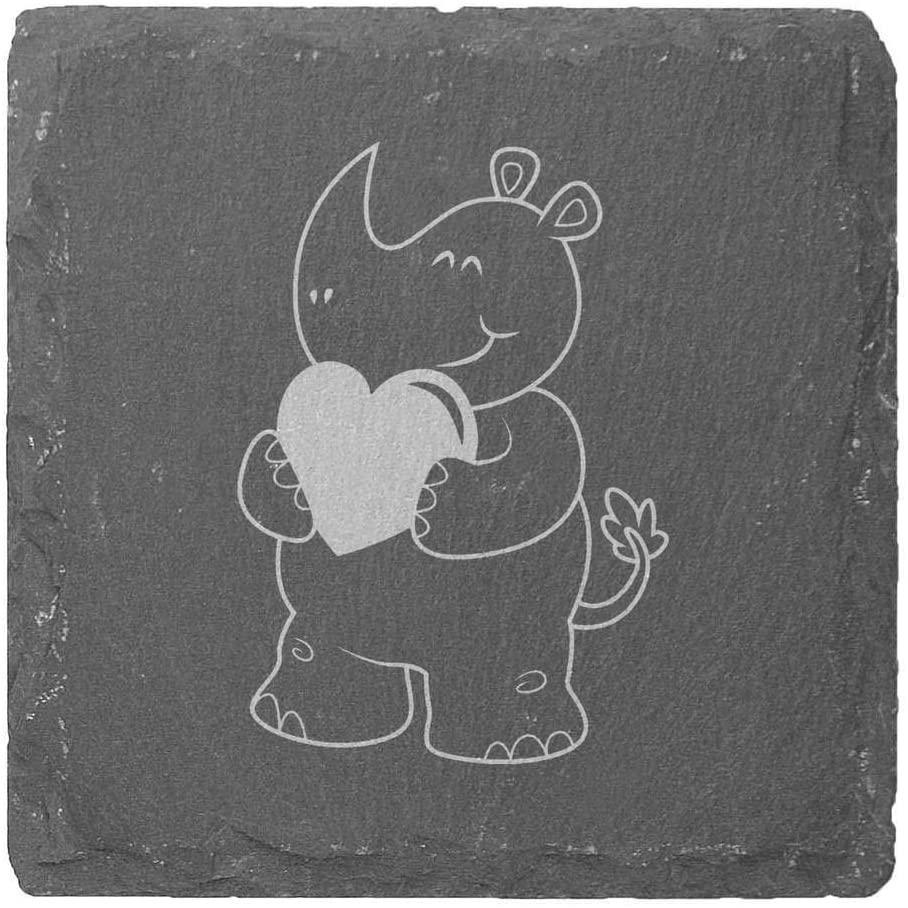 Azeeda 'Heart Rhino' 10cm Square Slate Coasters (CR00180737)