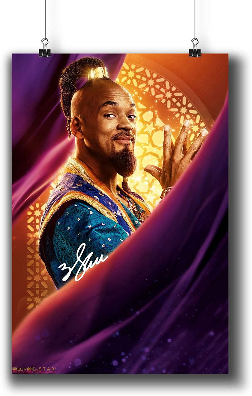 Pentagonwork Aladdin Casts Autographed Reprint Disney Movie Poster 11.7x16.5 A3 Textless Prints w/Stickers 2019 Film, Genie Will Smith, 1226-005