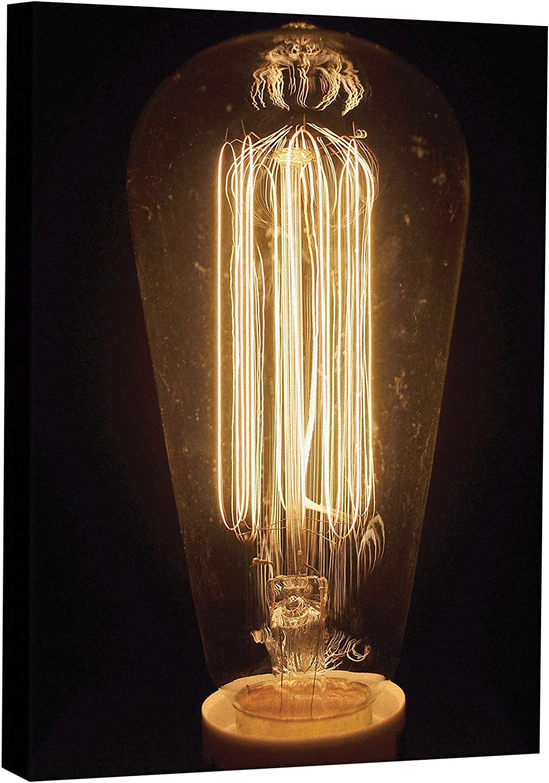 JP London MCNV2325 Edison Bulb 2 Restoration Hardware Vintage 2 Thick Heavyweight Gallery Wrap Canvas, 2 x 3