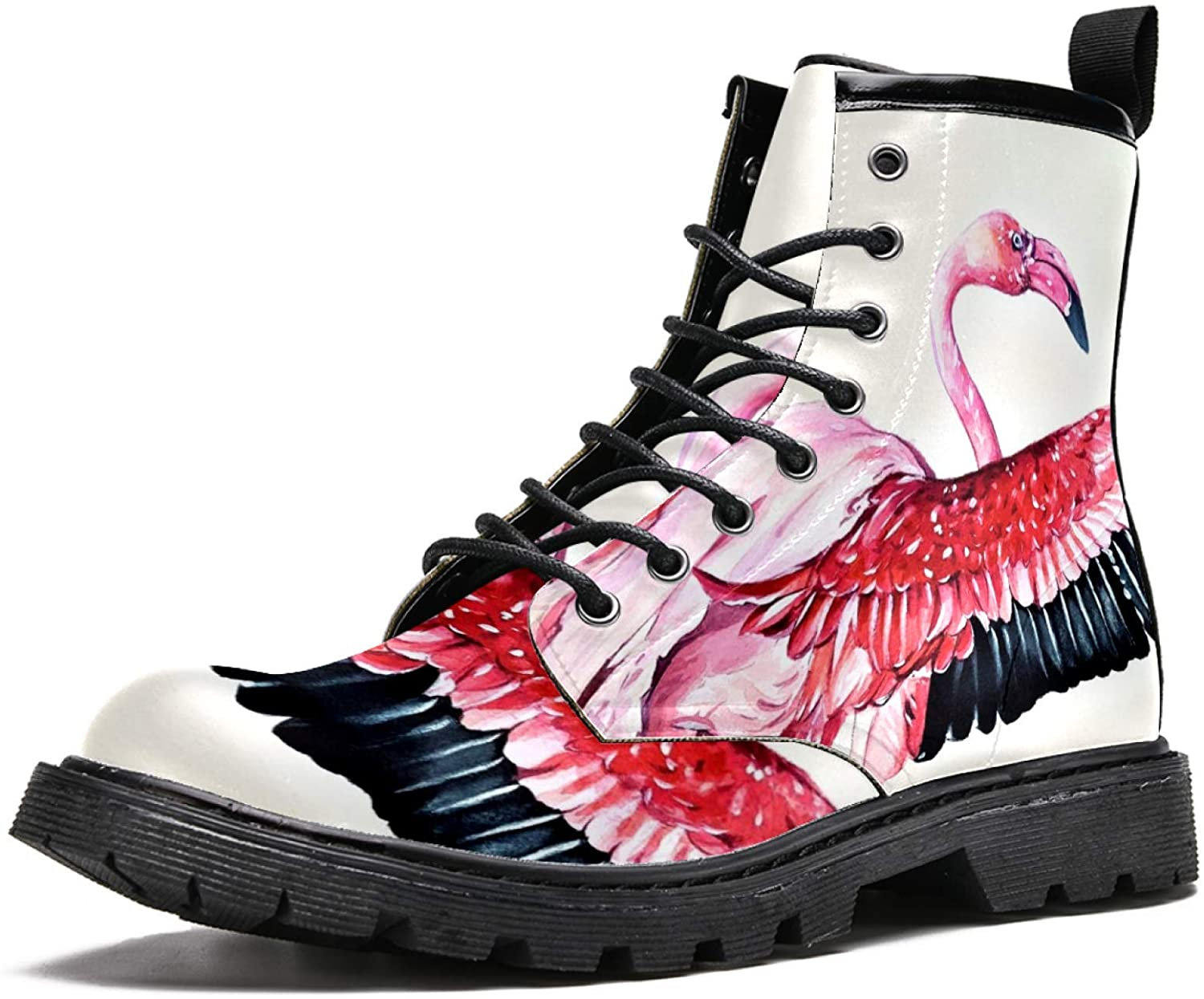 LORVIES Flamingo Bird Painting Men's High Top Boots Lace Up Casual Leather Ankle Shoes