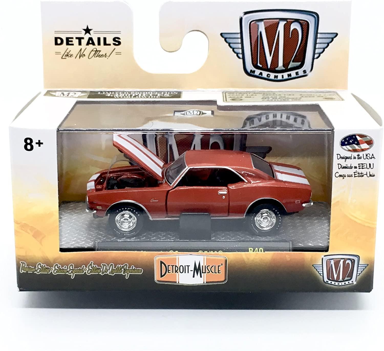 M2 Machines 1968 Chevrolet Camaro Z-2 (Matador Red w/Bright White Stripes) - Detroit Muscle Release 40 2018 Castline Premium Edition 1:64 Scale Die-Cast Vehicle & Display Case Set (R40 17-60)