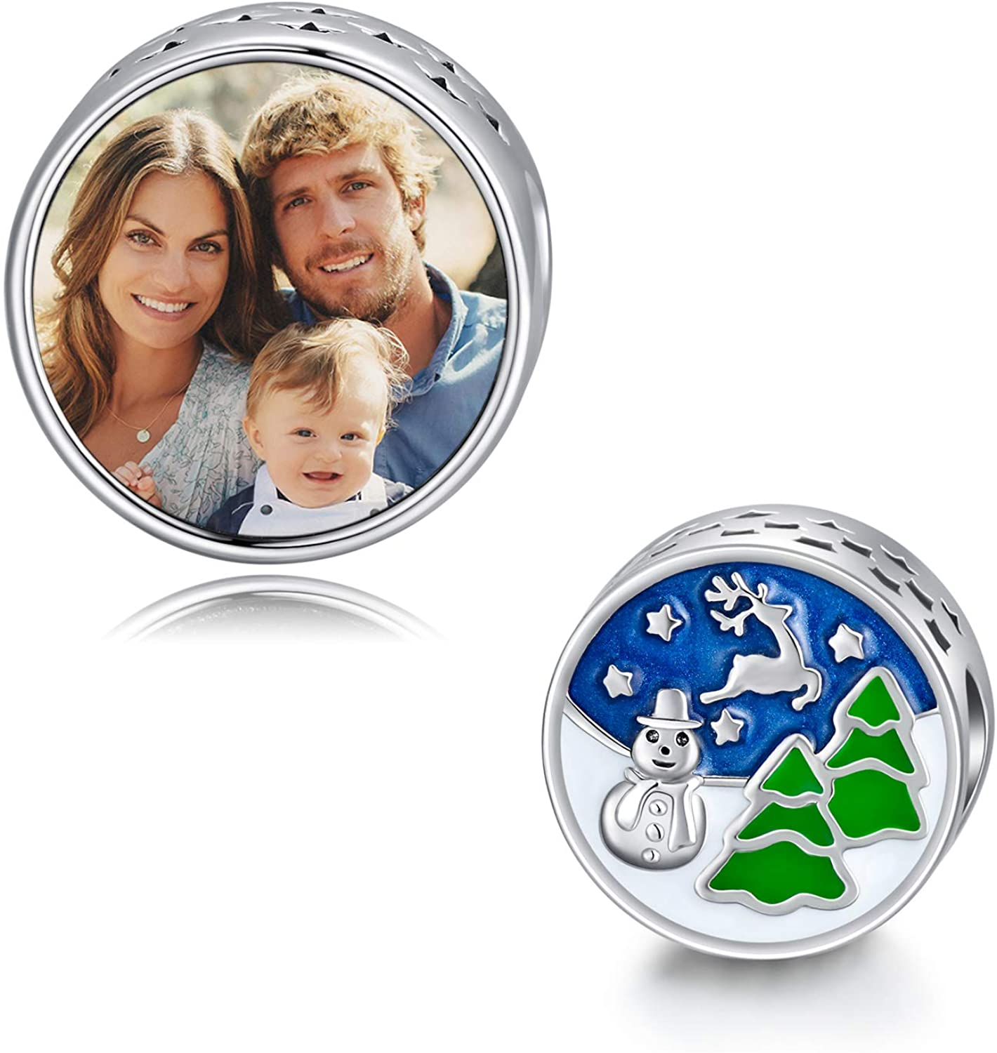 LONAGO Merry Christmas Photo Charm Sterling Silver Personalized Picture Charm Fit Pandora Bracelet Necklace Customized Image Bead Gifts for Women