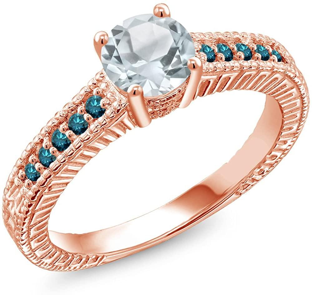 Gem Stone King 0.92 Ct Round Sky Blue Aquamarine Blue Diamond 18K Rose Gold Plated Silver Engagement Ring