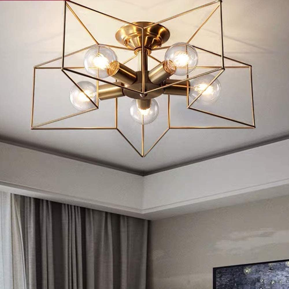Waitousanqi Luxury Aisle Balcony Five-Pointed Star Children's Room Lighting Copper Bedroom Simple Light