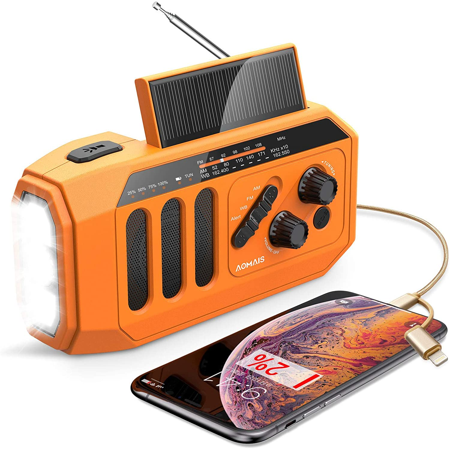 【2020 Newest】 Emergency Radio, 5000mAh Hand Crank Solar Weather Radio, NOAA/AM/FM Portable Radio with LED Flashlight&Reading Lamp, USB Cell Phone Power Charger, SOS Alarm for Home, Camping&Survival