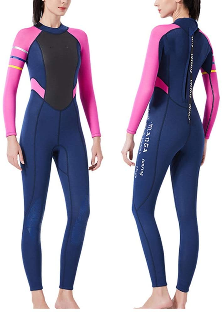 Tuuertge Women Wetsuit Suit Ladies One Piece Wetsuit Swimming Wet Suit Full Wetsuit Neoprene 3mm Full Suit Long Sleeve UV Protection for Surfing Kayaking Full Diving Suits (Color : Pink, Size : XL)
