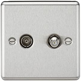 Knightsbridge CLAV014BC SAT TV Outlet (Isolated) -Rounded Edge Brushed Chrome